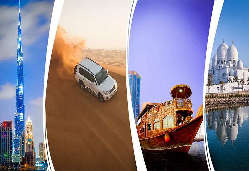 Abu Dhabi + Dubai City Tour + Desert Safari + Dhow Cruise Dinner