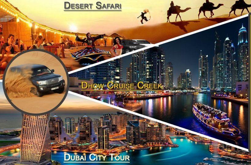 dubai city tour + desert safari + dhow cruise